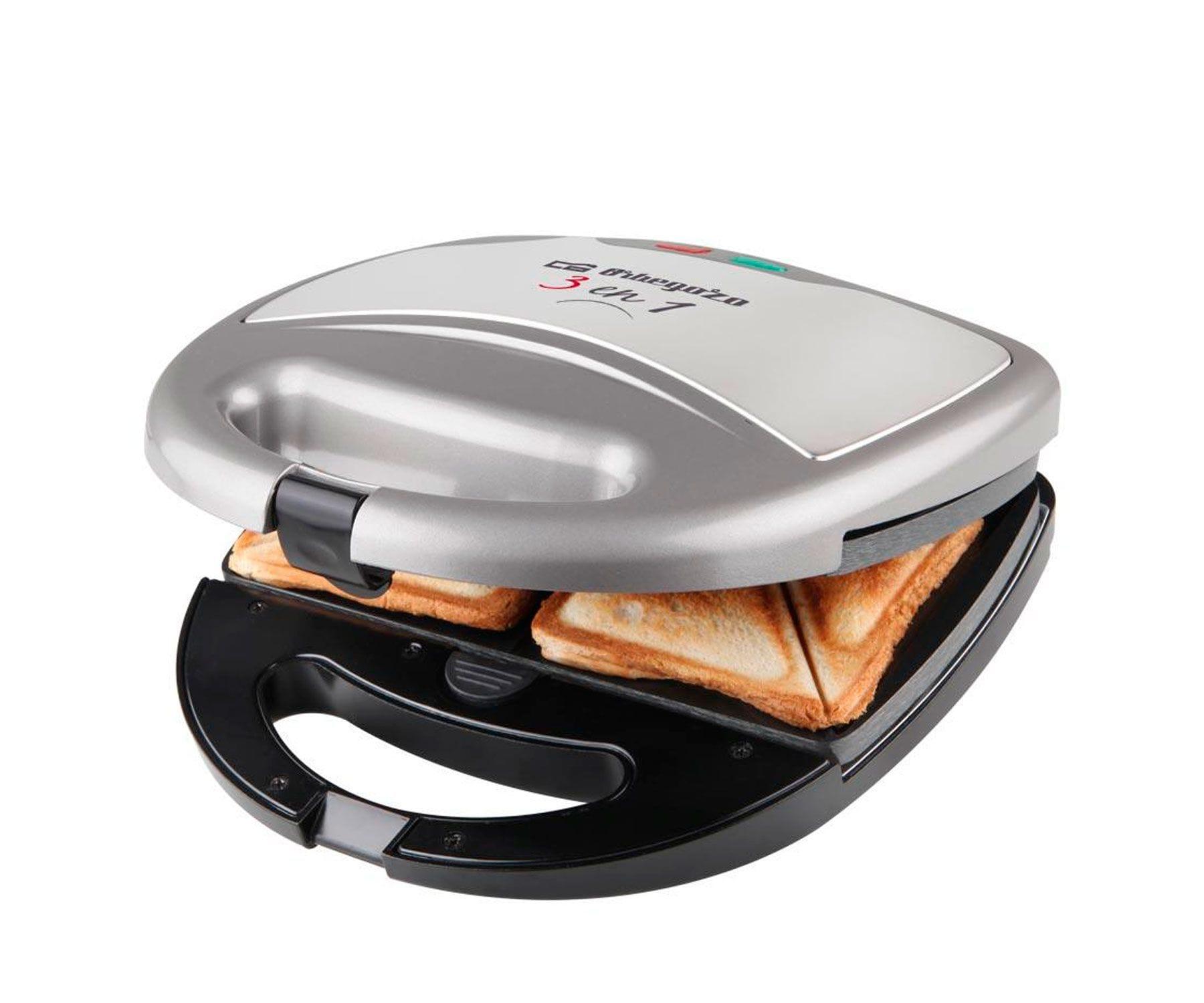 Orbegozo SW7550 Sandwichera multifunción 3 en 1/Grill/Gofre/Inox