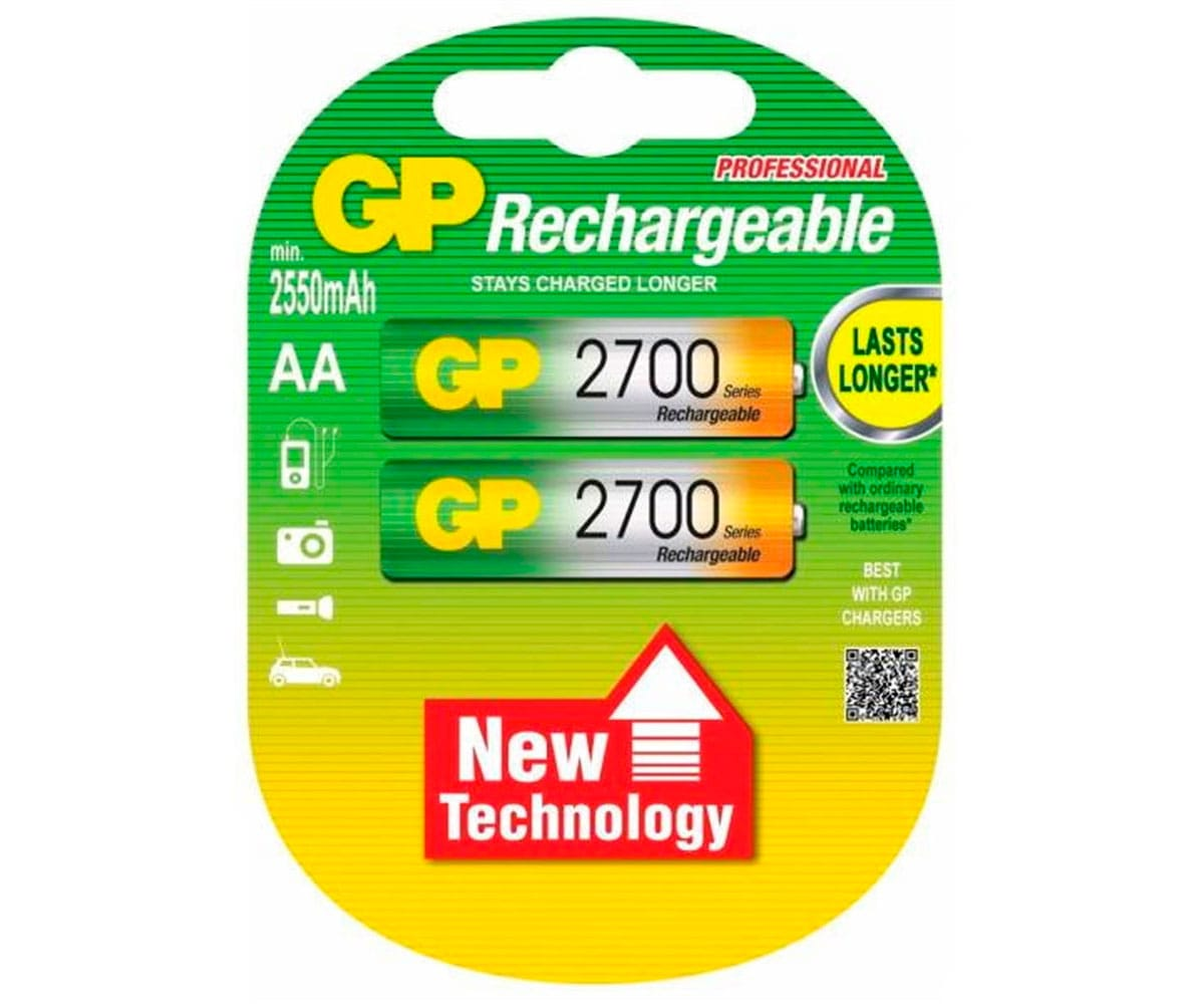 GP PILA RECARGABLE LR06 AA 1.2V Ni-MH 2700mAh BLISTER DE 2 UNIDADES