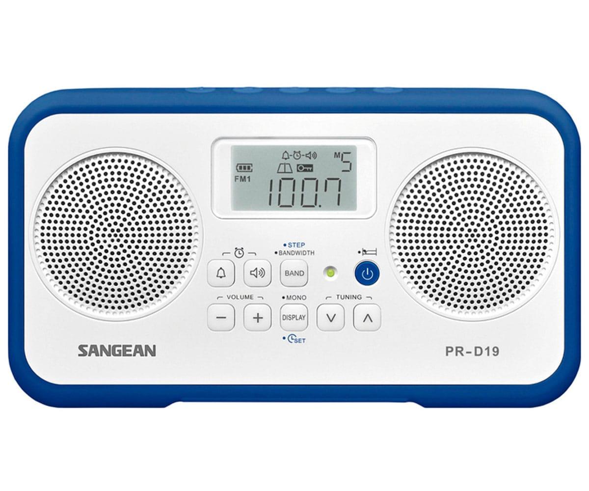 SANGEAN PR-D19 BLANCO AZUL OSCURO RADIO DIGITAL PORTÁTIL FM AM PANTALLA LCD ALARMA BATERÍA