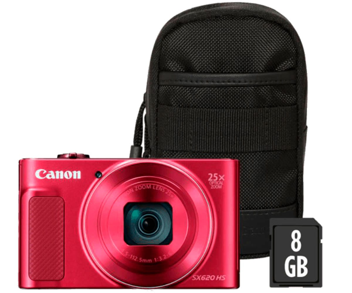 CANON POWERSHOT SX620HS ROJO KIT CÁMARA COMPACTA 20.2MP FULL HD 25x GRAN ANGULAR DIGIC4+ WIFI NFC BOLSA SD 8GB