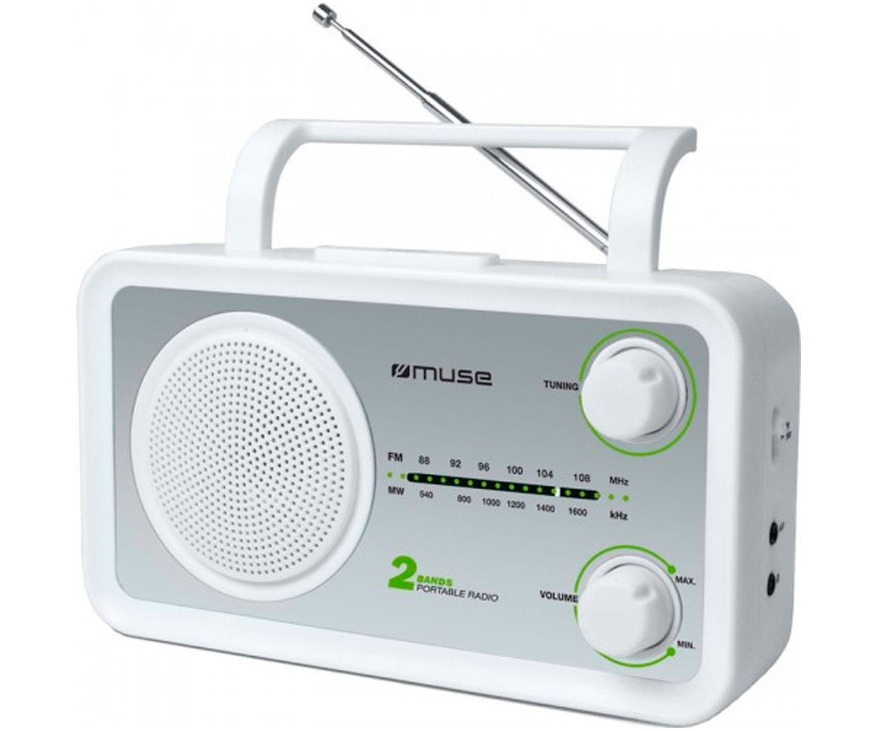 MUSE M-06SW BLANCO PLATA RADIO ANALÓGICA FM/AM CON ALTAVOZ INTEGRADO
