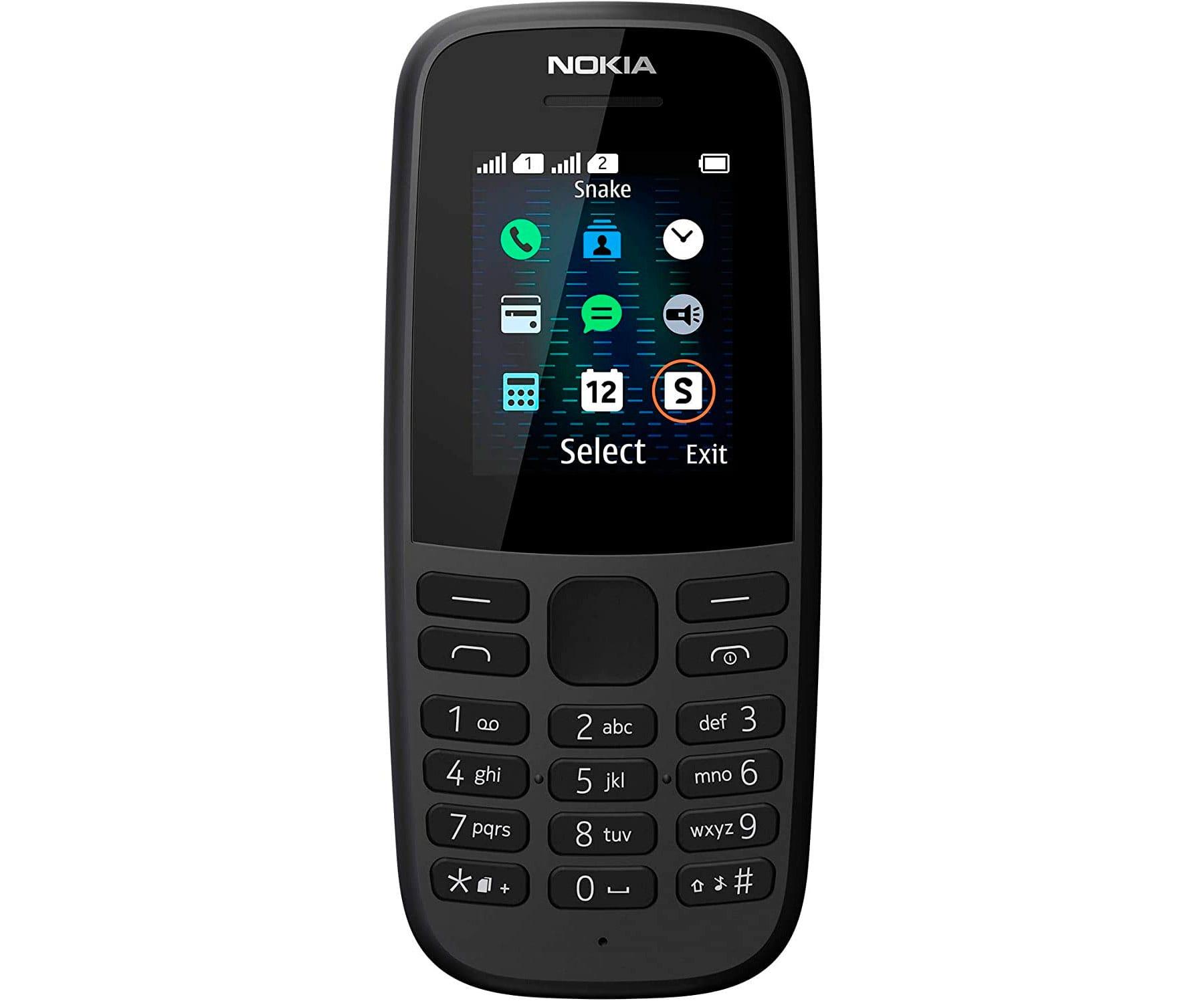 NOKIA 105 NEGRO MÓVIL GSM DUAL SIM 1.77'' QQVGA 4MB RADIO FM SNAKE XENZIA