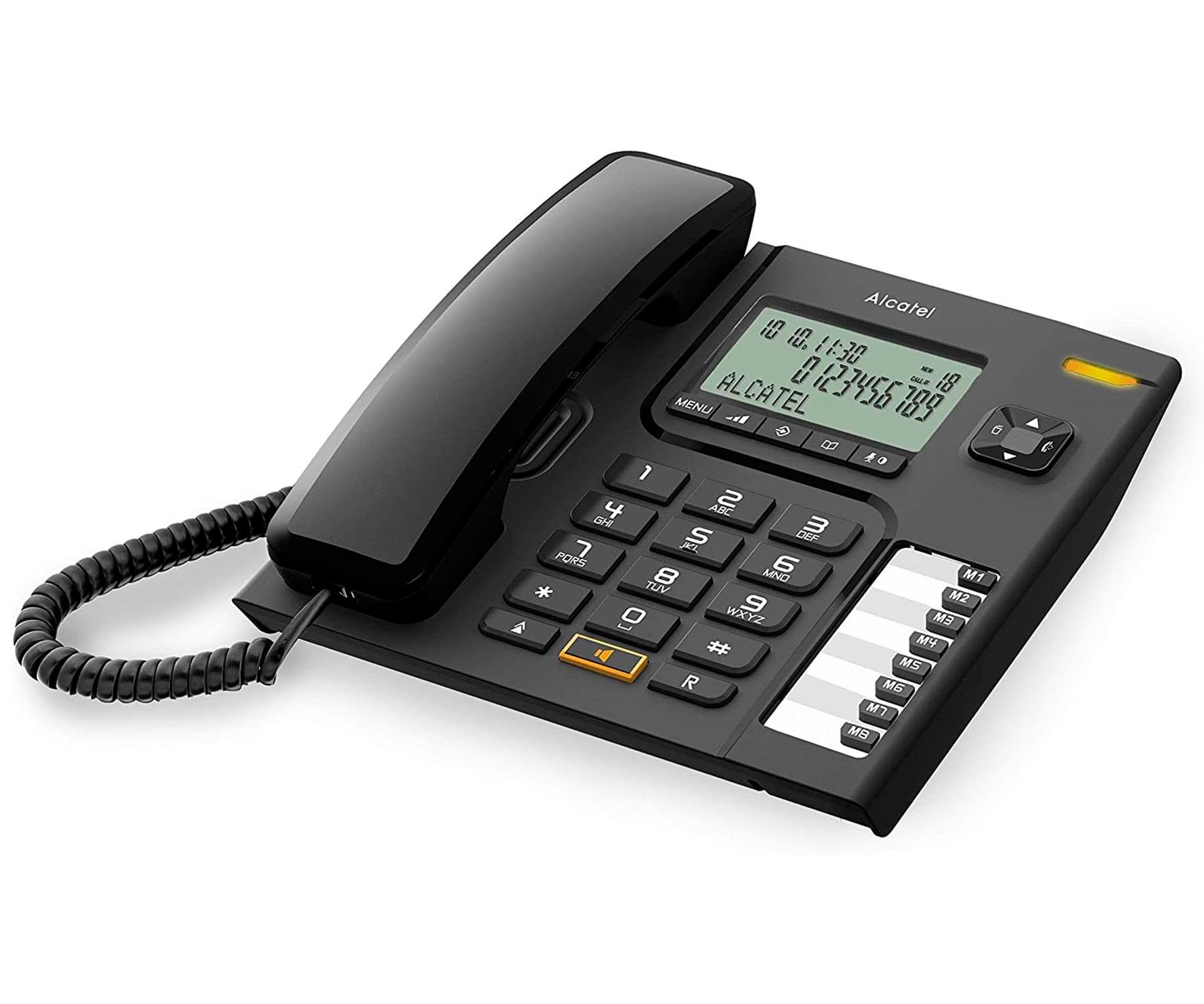 ALCATEL T76 NEGRO TELÉFONO FIJO CON CABLE PANTALLA MANOS LIBRES