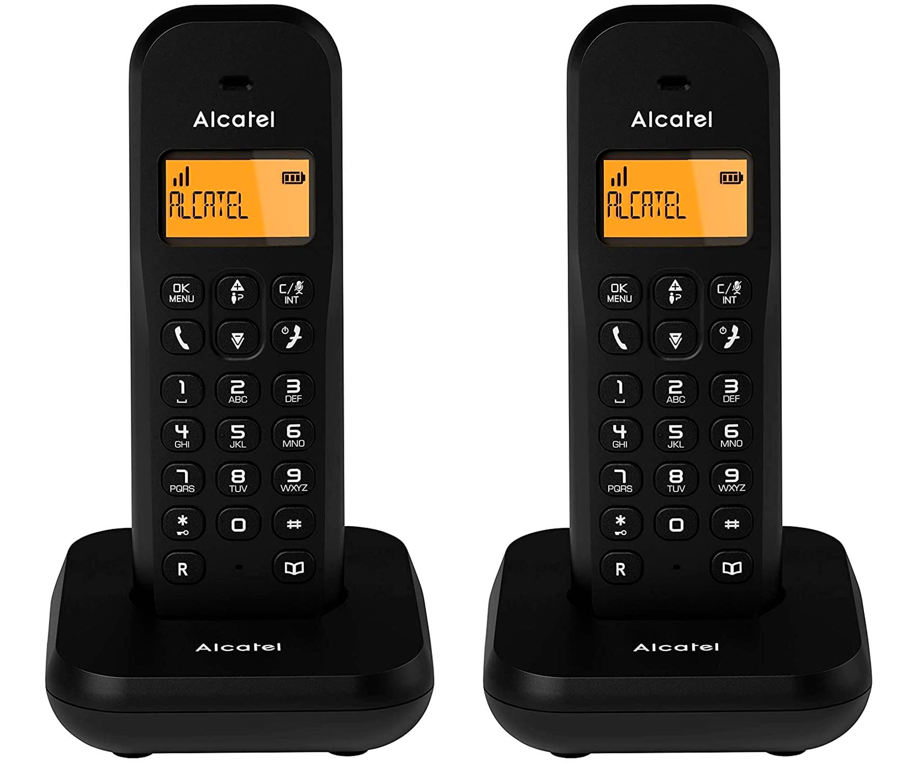 ALCATEL E155 NEGRO DUO TELÉFONOS FIJOS INALÁMBRICOS PANTALLA RETROILUMINADA