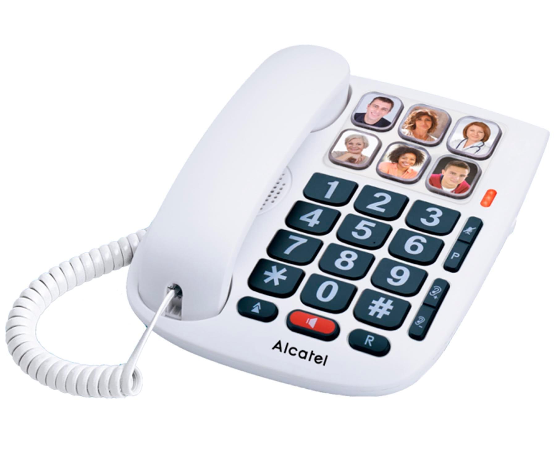 ALCATEL TMAX10 BLANCO TELÉFONO FIJO CON CABLE TECLAS GRANDES MANOS LIBRES
