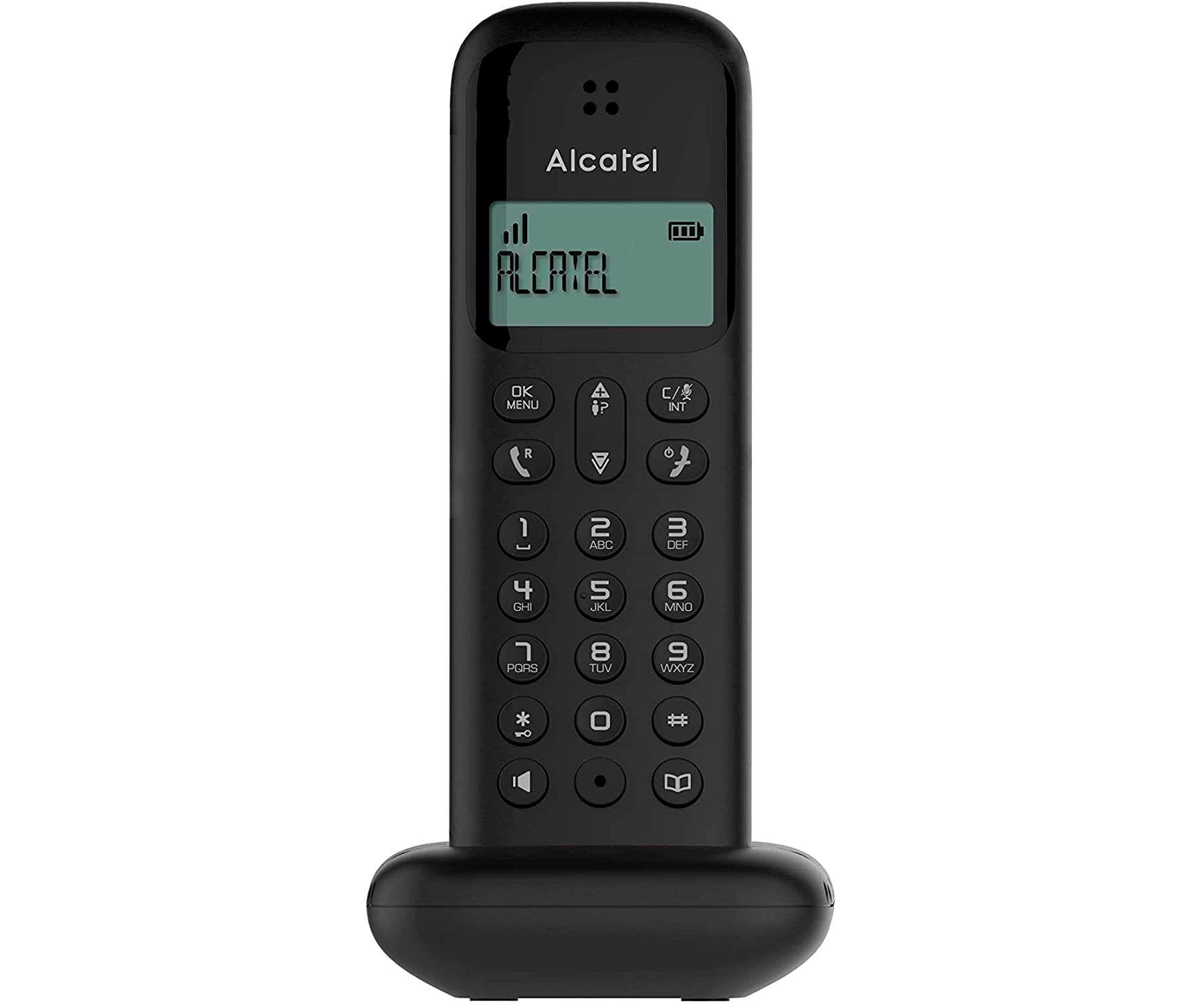 ALCATEL D285 NEGRO TELÉFONO FIJO INALÁMBRICO PANTALLA SENCILLO Y ELEGANTE