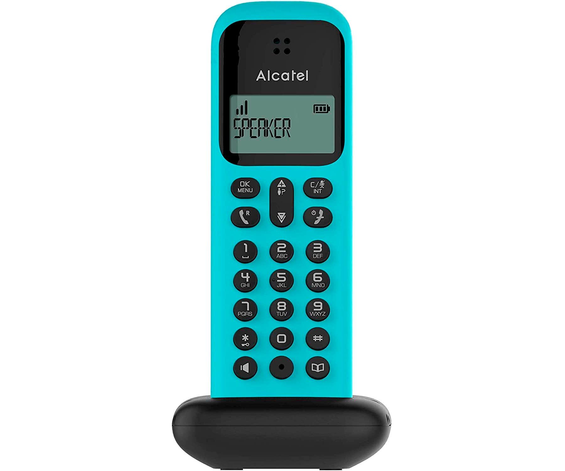 ALCATEL D285 TURQUESA TELÉFONO FIJO INALÁMBRICO PANTALLA SENCILLO Y ELEGANTE