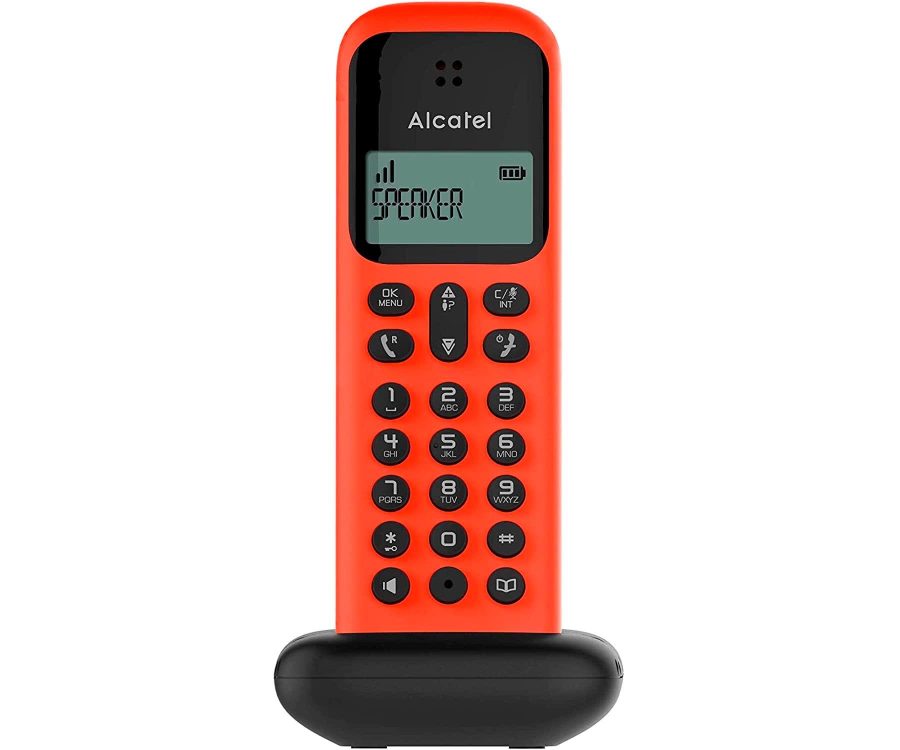 ALCATEL D285 ROJO TELÉFONO FIJO INALÁMBRICO PANTALLA SENCILLO Y ELEGANTE