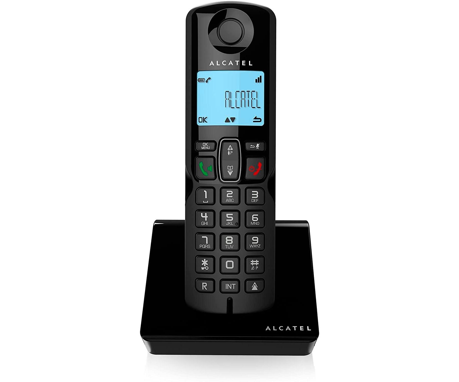 ALCATEL S250 NEGRO TELÉFONO FIJO INALÁMBRICO PANTALLA RETROILUMINADA BLOQUEO DE LLAMADAS