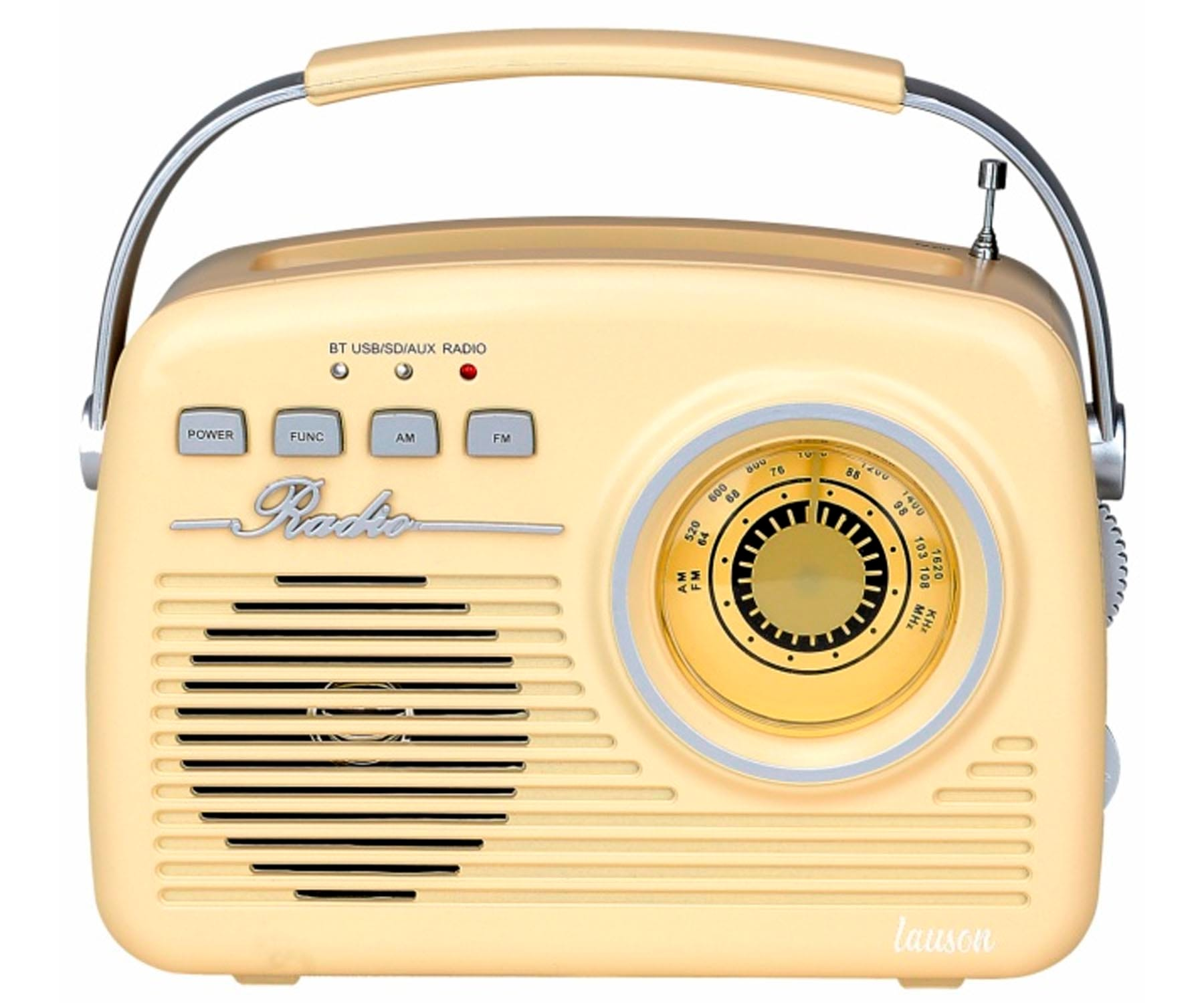 LAUSON RA143 RADIO VINTAGE CREMA ANALÓGICA CON ALTAVOZ INTEGRADO 2W AM/FM BATERÍA RECARGABLE BLUETOOTH USB SD