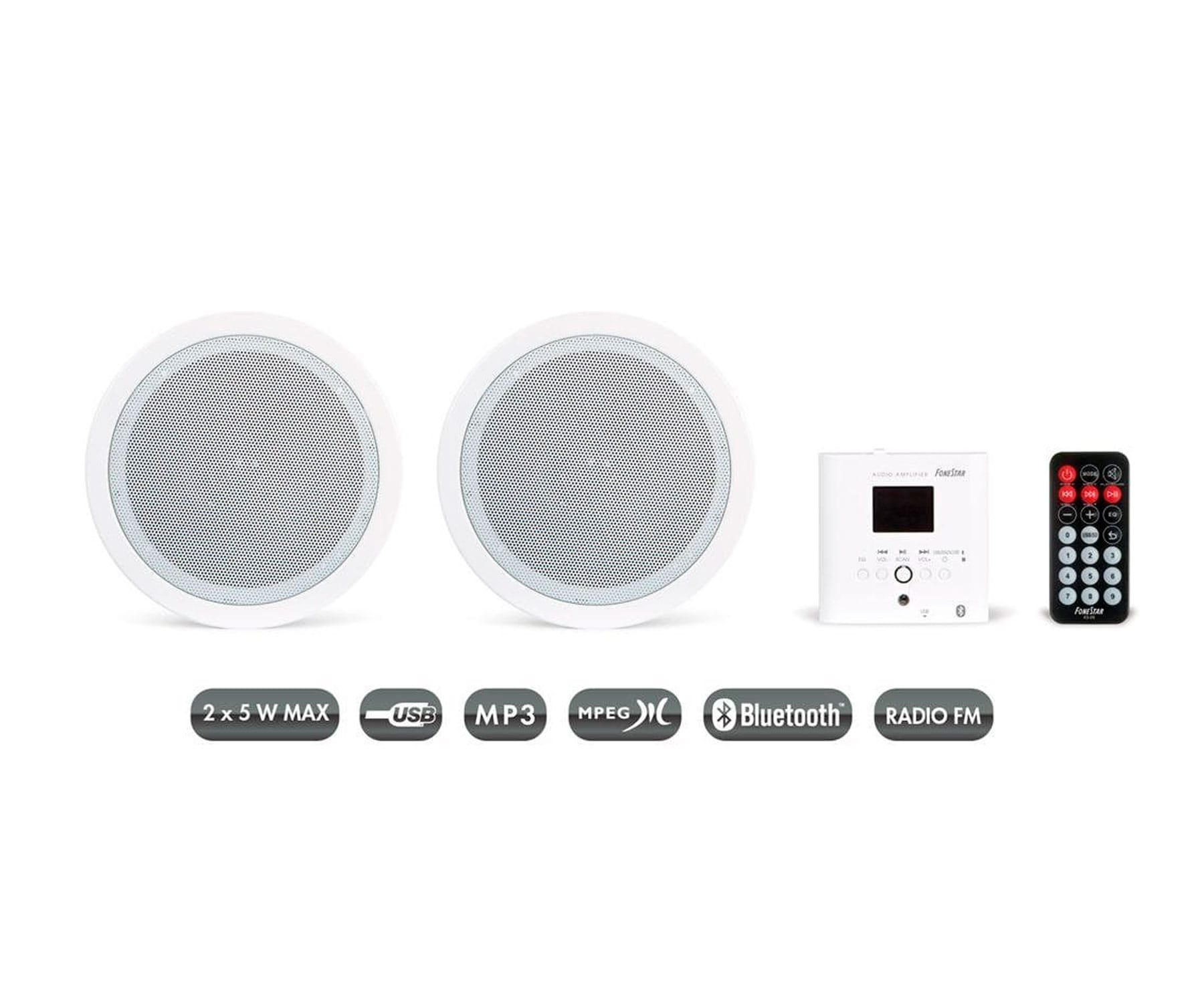 FONESTAR KS-06 BLANCO PAREJA ALTAVOCES INALÁMBRICOS PARED O TECHO CON MANDO A DISTANCIA Y RECEPTOR BLUETOOTH