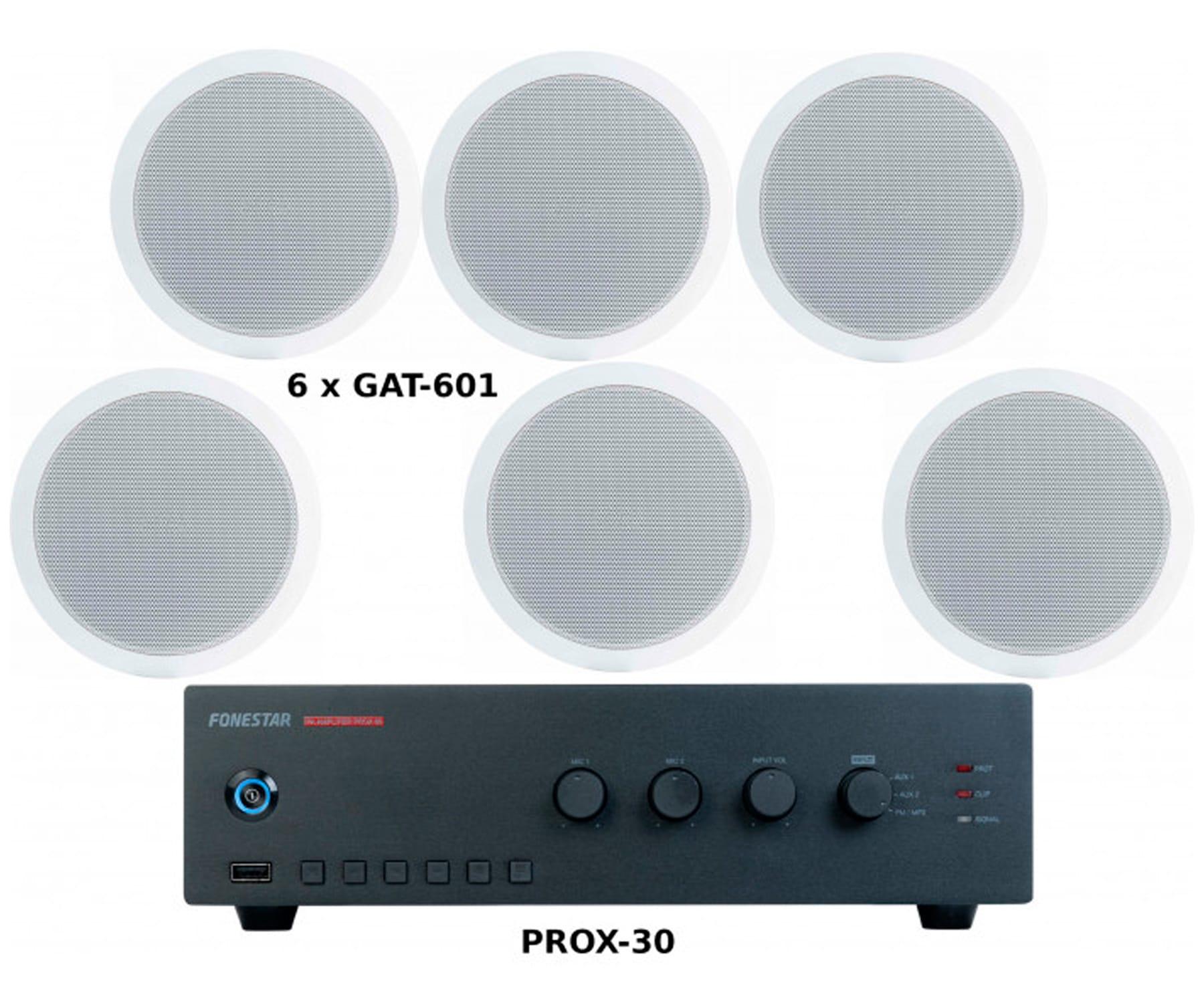 FONESTAR PACK AHORRO 150 - AMPLIFICADOR PROX-60 + SEIS ALTAVOCES DE TECHO GAT-601