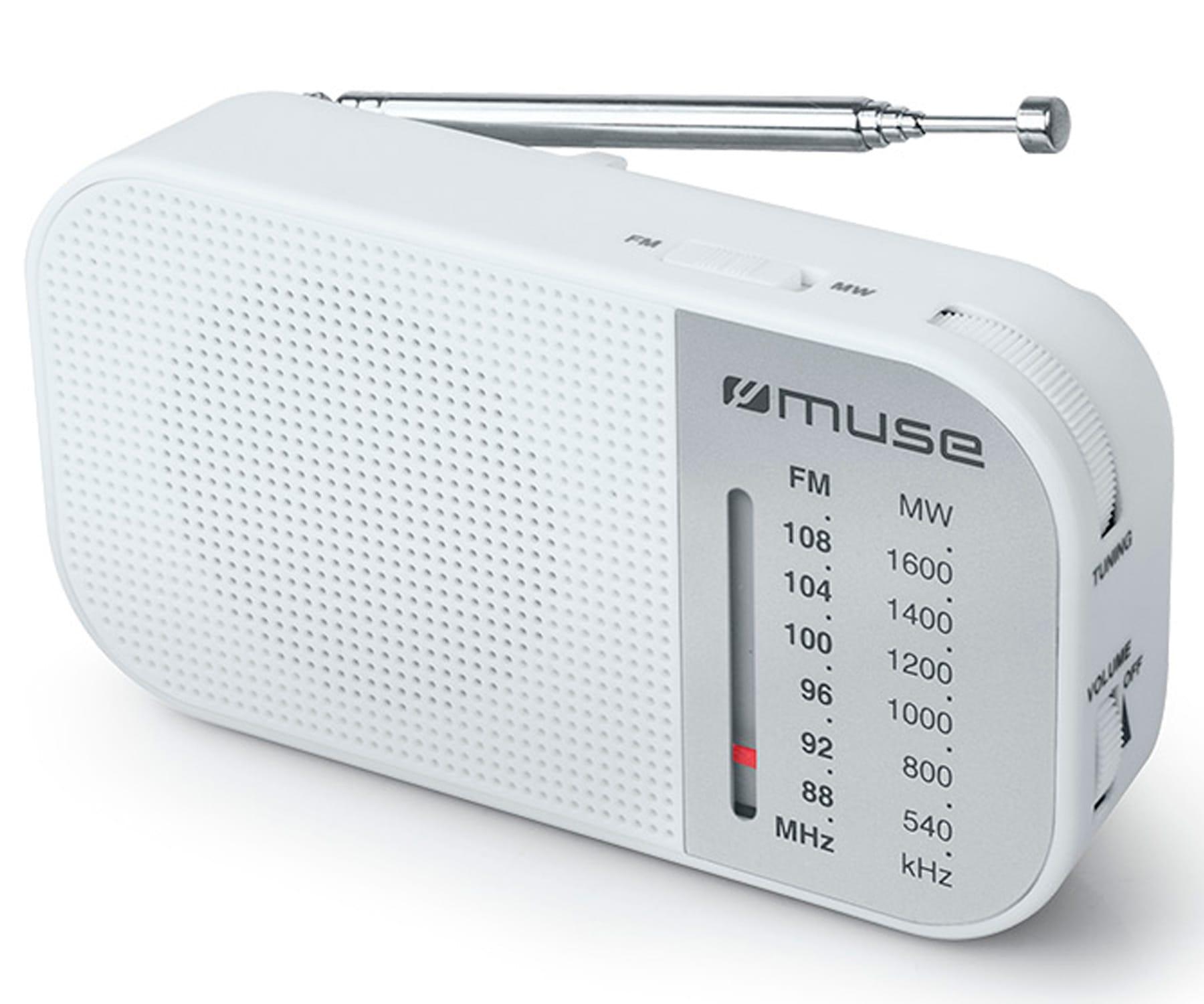MUSE M-025 RW BLANCO RADIO ANALÓGICA AM/FM PORTÁTIL CON ALTAVOZ INTEGRADO