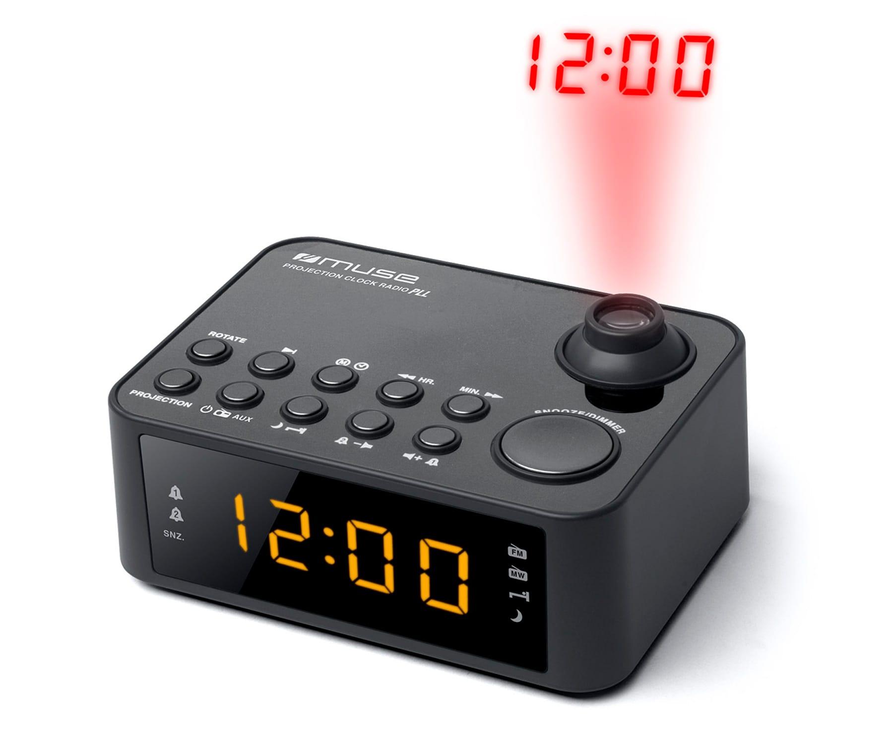 MUSE M-178 P NEGRO RADIO DESPERTADOR AM/FM CON ALTAVOZ INTEGRADO Y PROYECTOR DE HORA