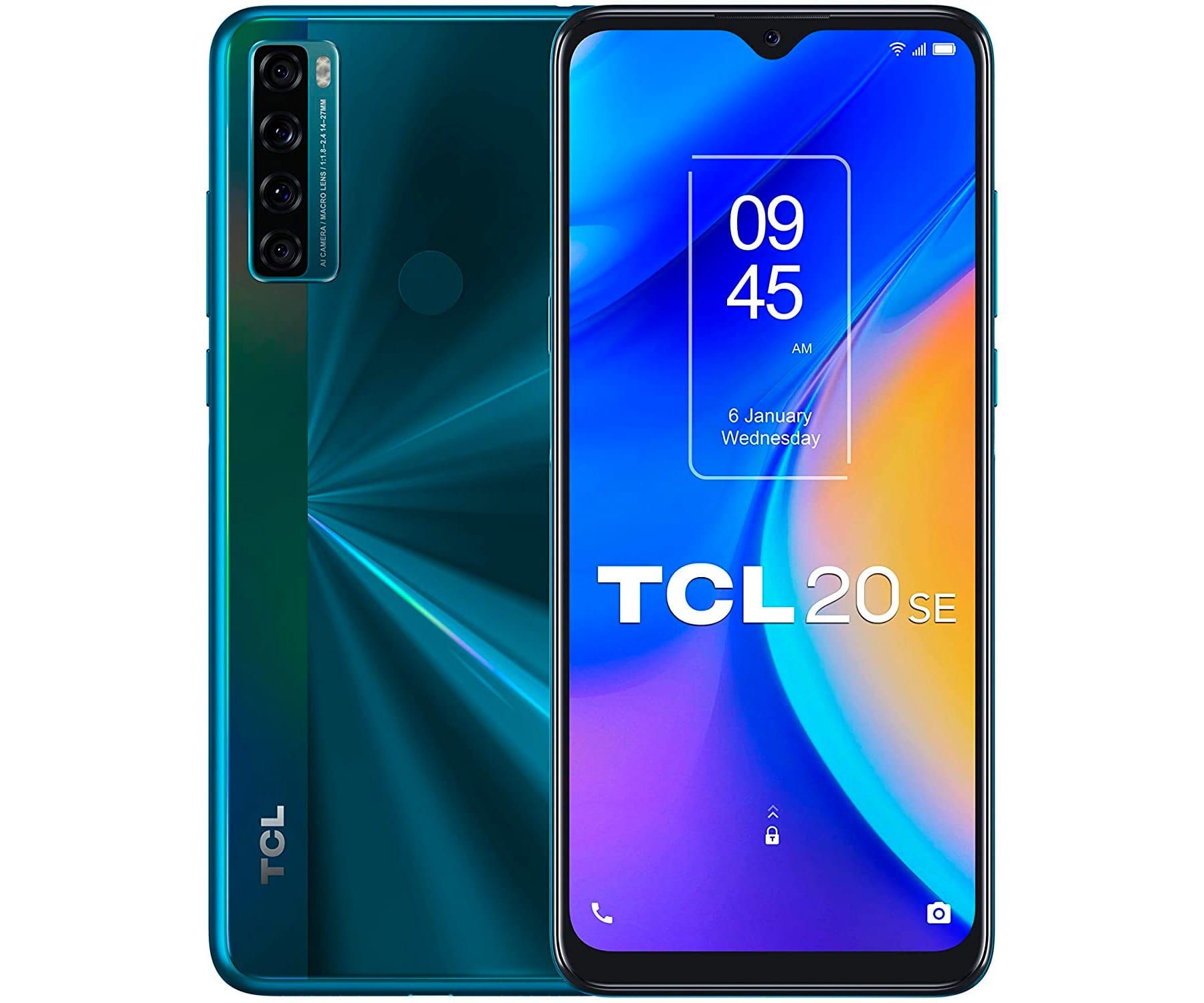 TCL 20 SE VERDE MÓVIL 4G DUAL SIM 6.82'' HD+ OCTACORE 64GB 4GB RAM QUADCAM 16MP SELFIES 8MP