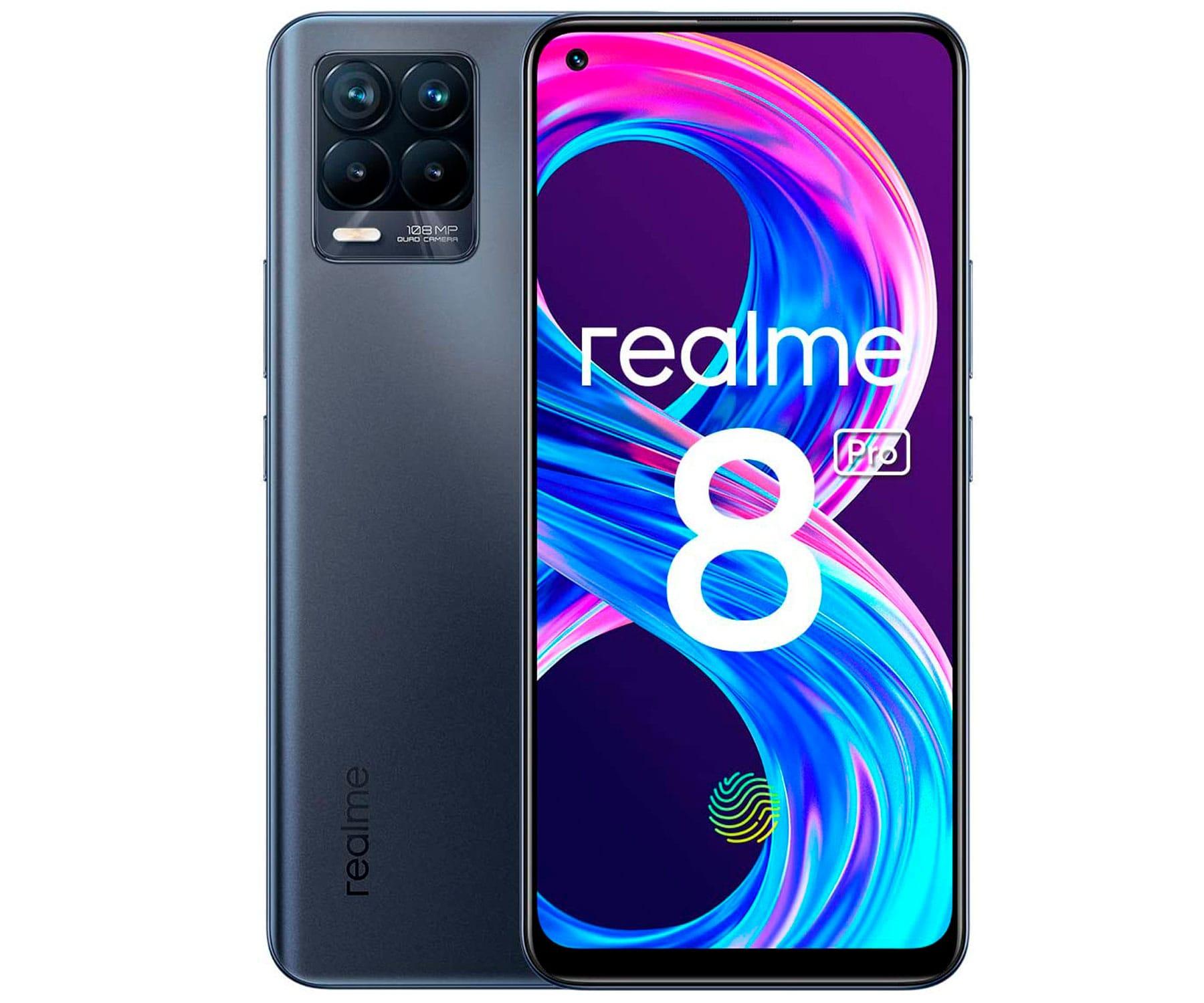 REALME 8 PRO 4G NEGRO DUAL SIM 6.4'' SUPER AMOLED FHD+ OCTACORE 128GB 8GB RAM QUADCAM 108MP SELFIES 16MP
