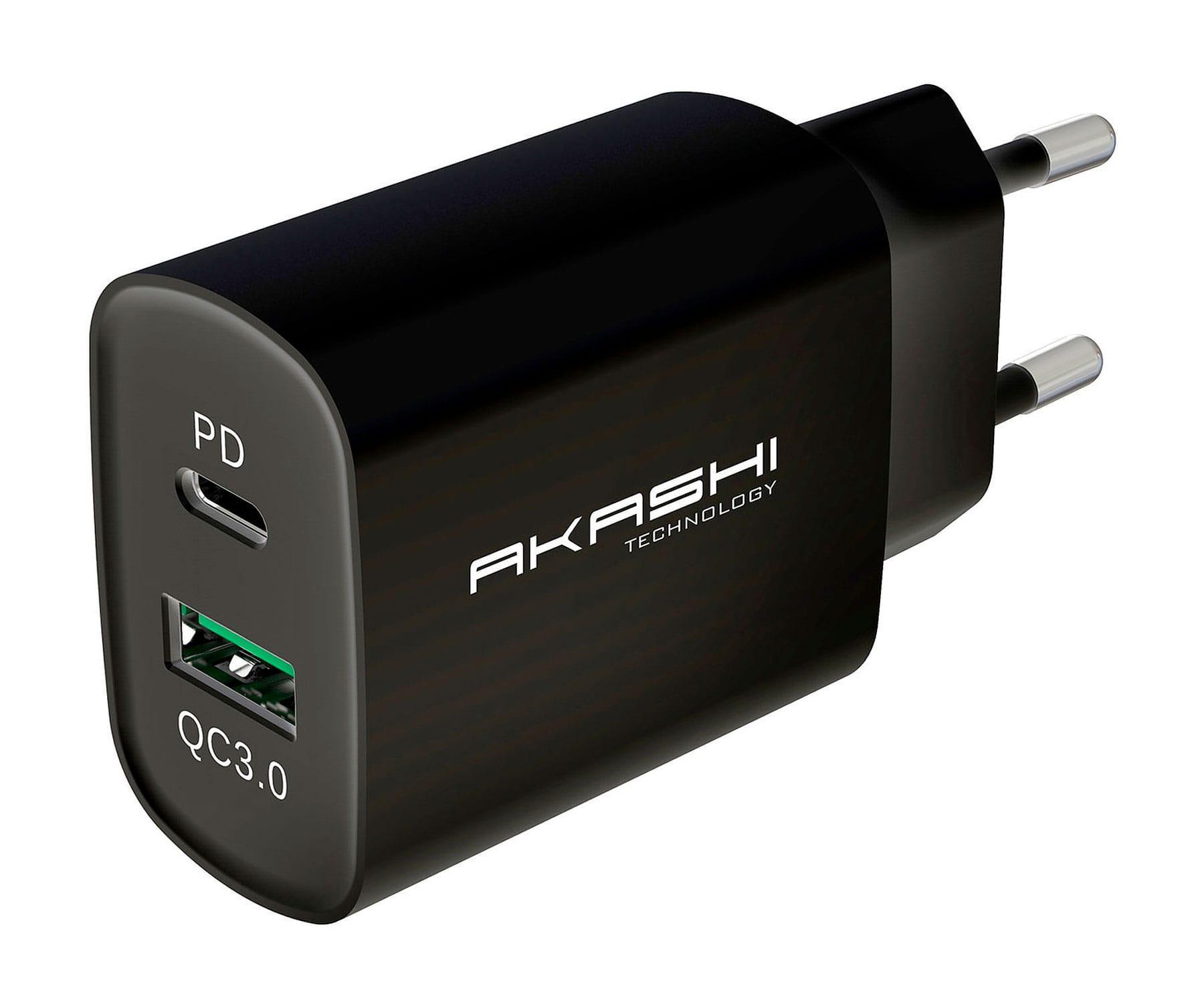 Akashi Cargador de pared/Negro/20W/USB-A Carga Rápida 3.0