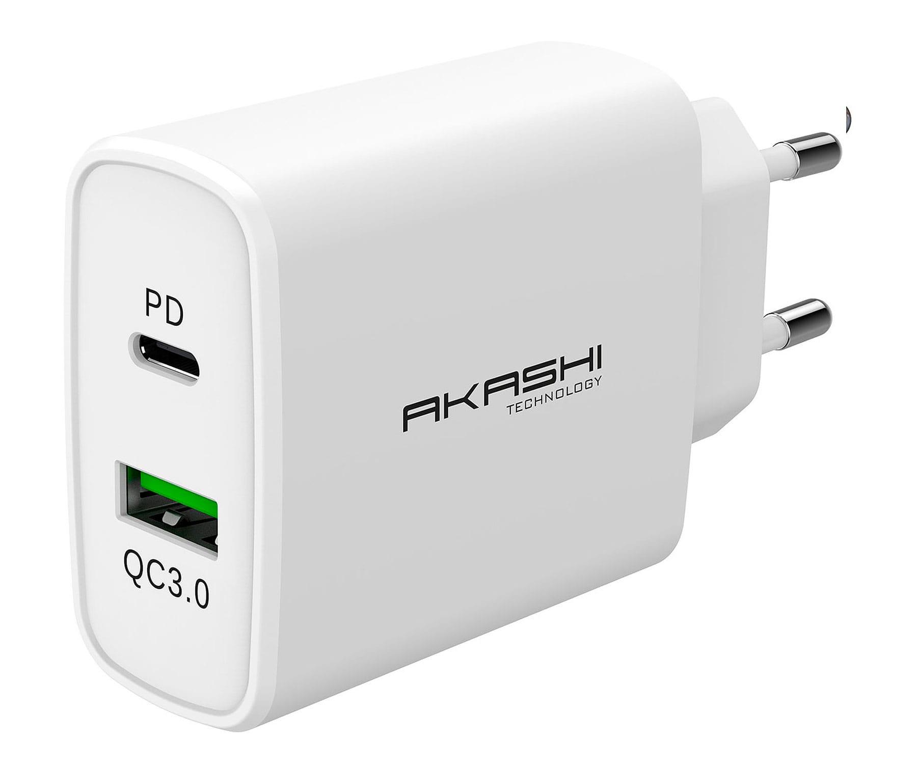 Akashi Cargador de pared/Blanco/Inteligente/38 W/USB-C