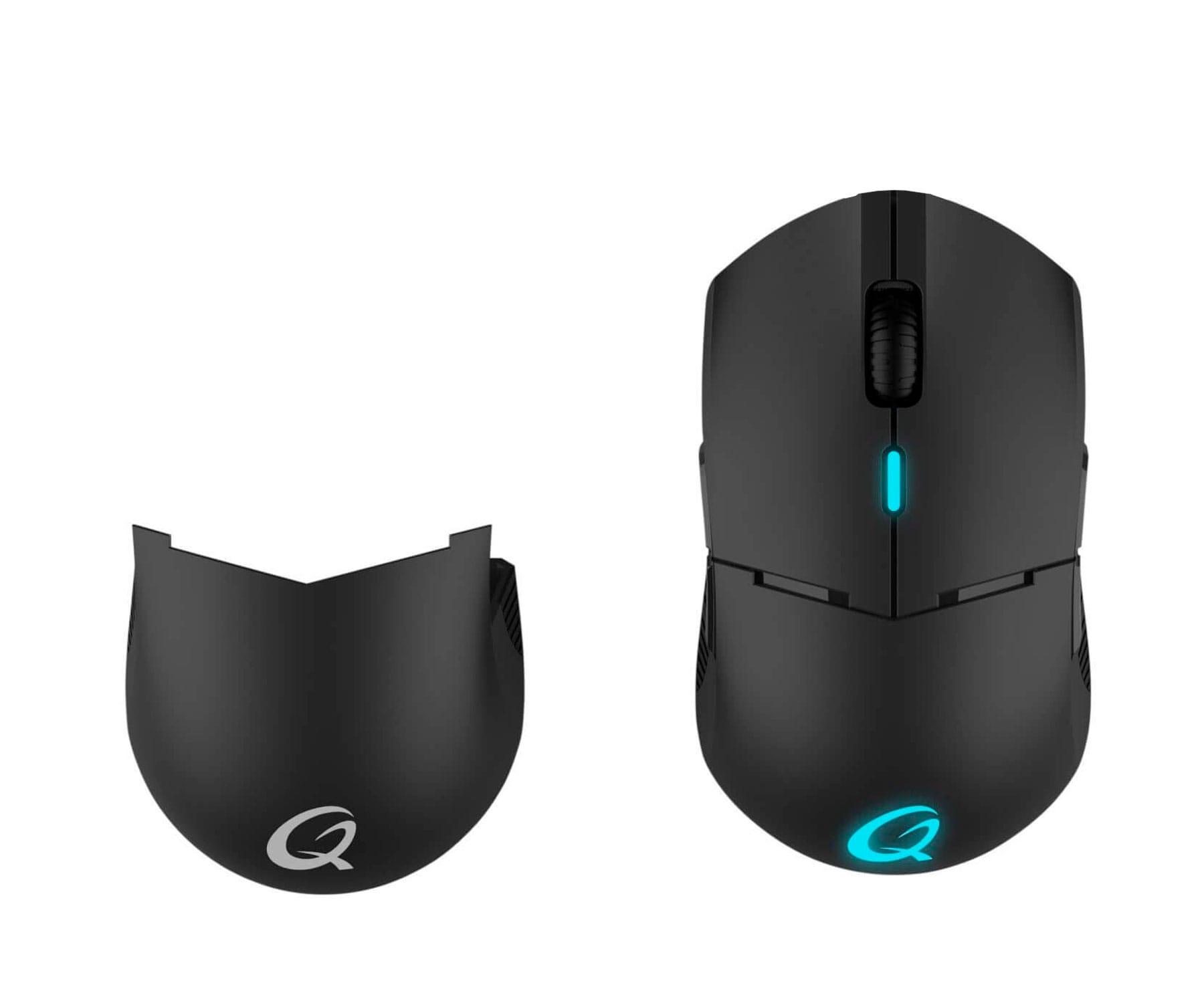 Qpad DX900 Negro/Ratón óptico inalámbrico/PRO Gaming/Profesional/16.000 ppp/Ambidiestro