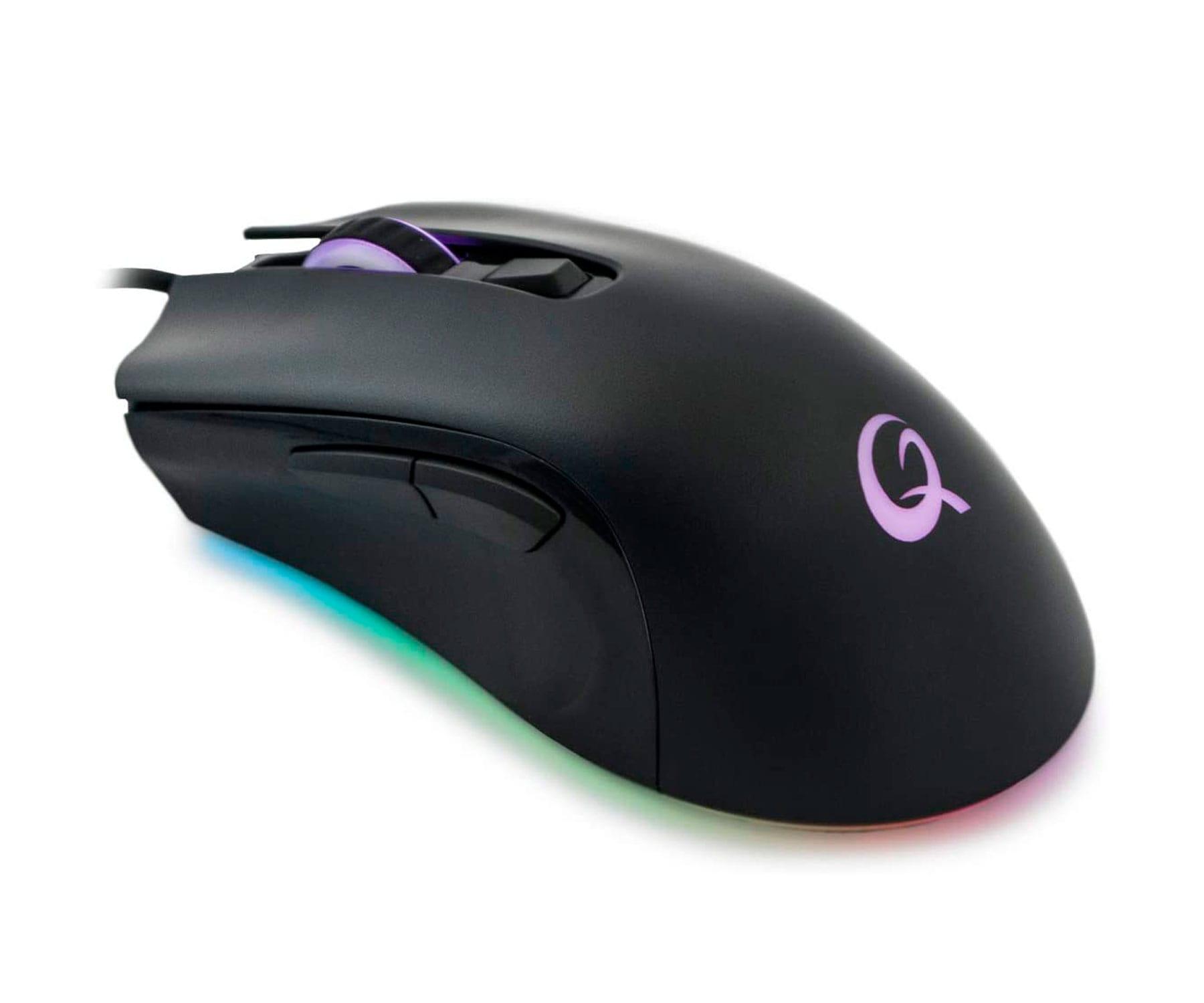 Qpad DX120 Negro/Ratón gaming/Led RGB/6 teclas/12000dpi/Diestro
