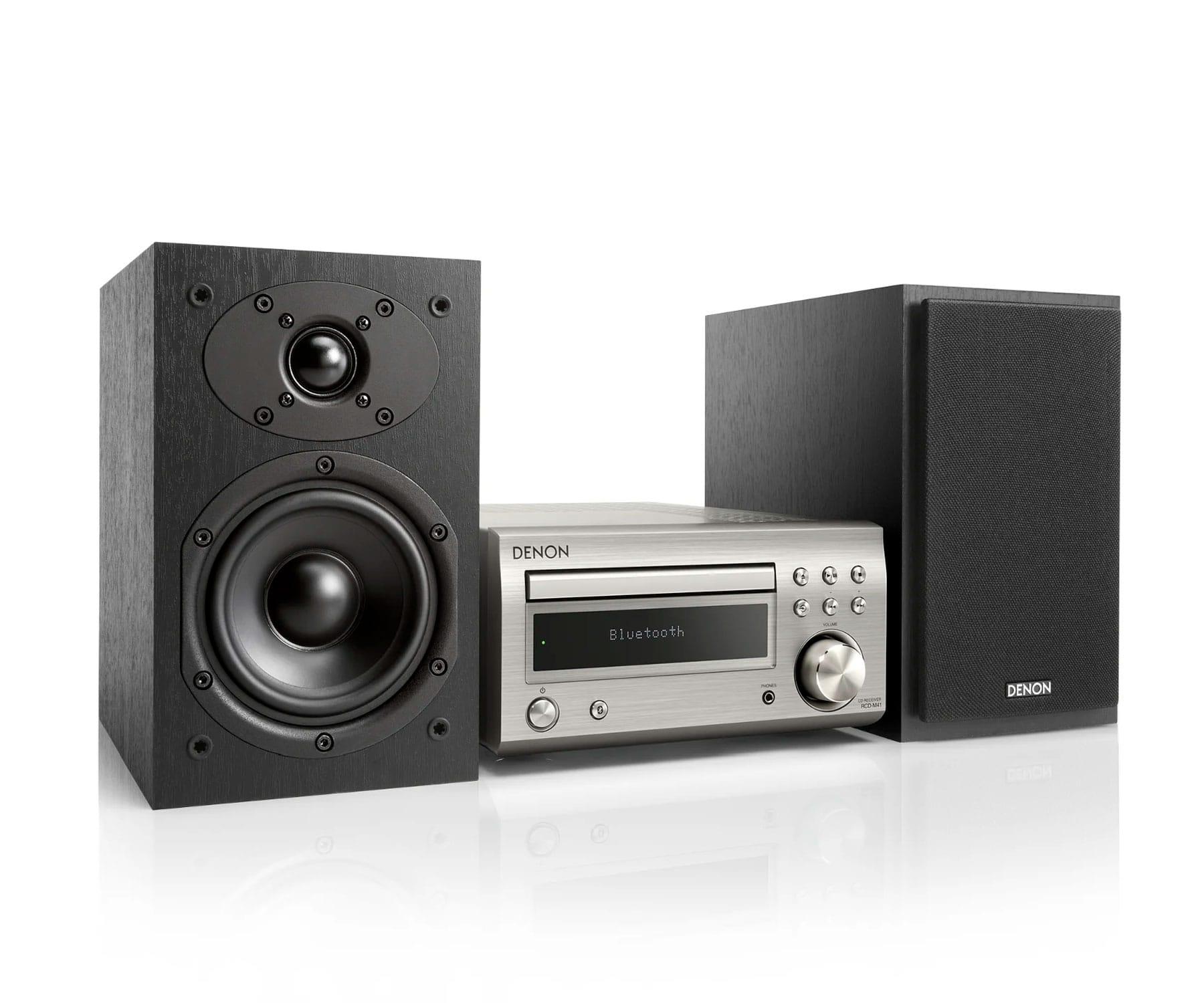 Denon DM-41 Plata/Negro Microcadena/Sistema Hi-Fi con CD/Bluetooth/Sintonizador FM/AM