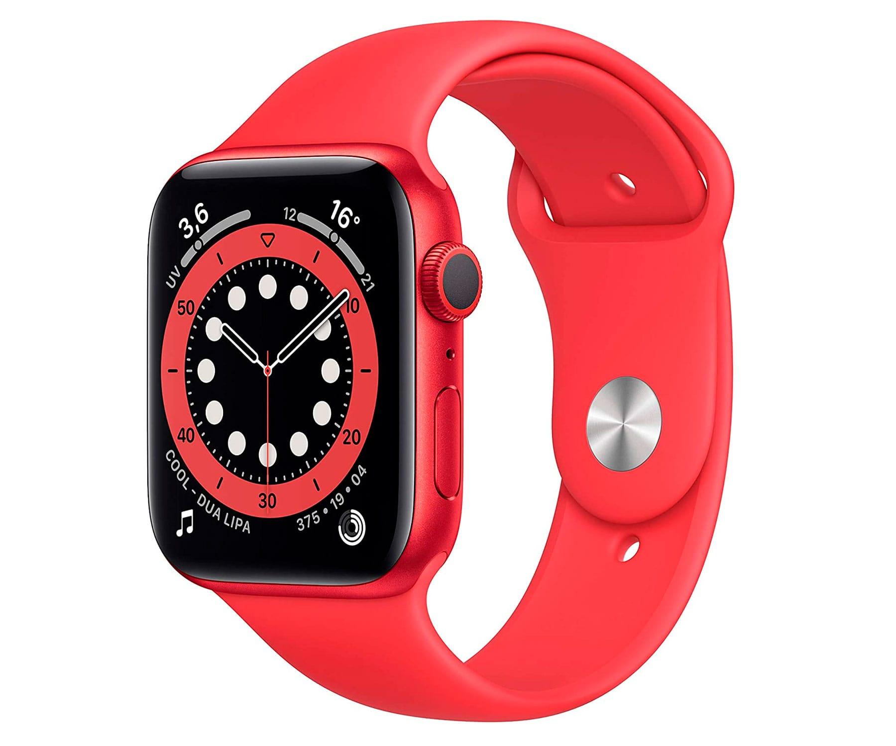 Apple Watch Series 6 /GPS/40mm/Caja de Aluminio en Roja/Correa Deportiva Roja/App Oxígeno en Sangre/App ECG